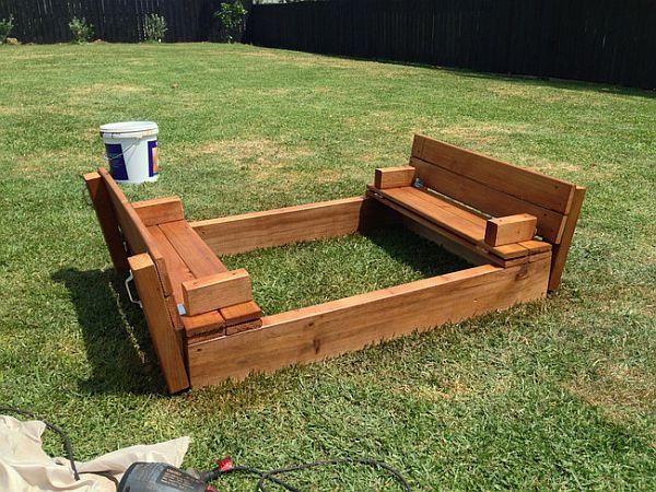 DIY Sandbox Cover  Kids DIY Sandbox How to Make e in the Backyard