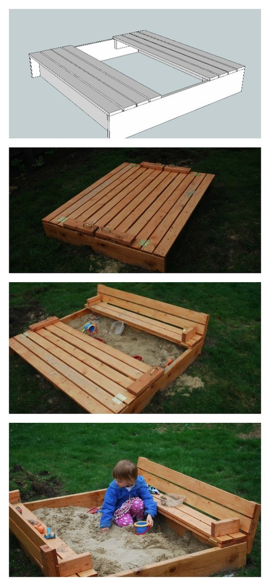 DIY Sandbox Cover  Sand box with built in seats