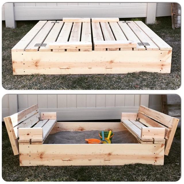 DIY Sandbox Cover  DIY Sandbox with Fold Out Seats Mrs Happy Homemaker