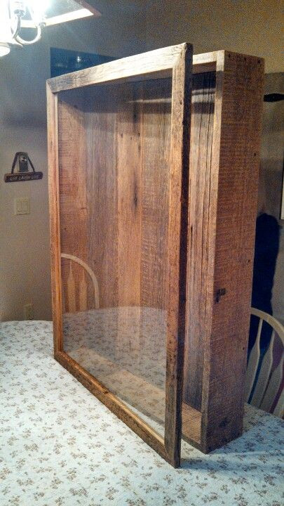 DIY Shadow Box Picture Frame  32x42 shadow box made from reclaimed barn board