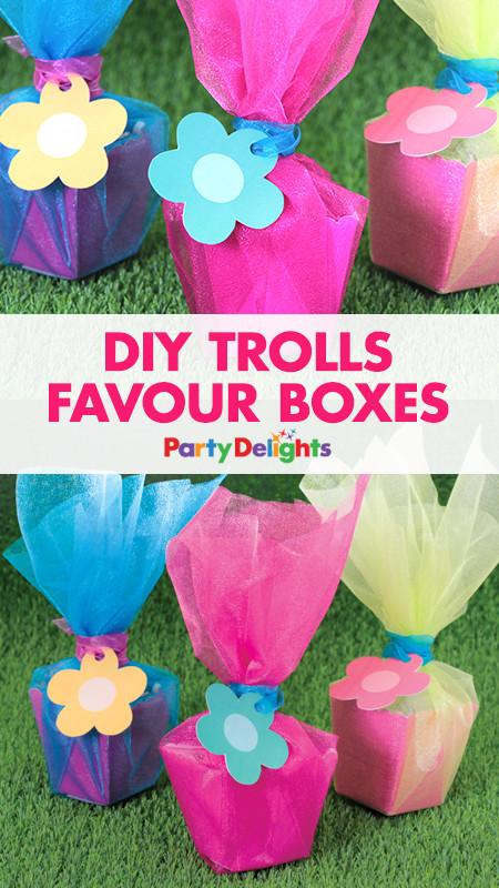 Diy Trolls Party Ideas  DIY Trolls Favour Boxes Cumpleaños troll