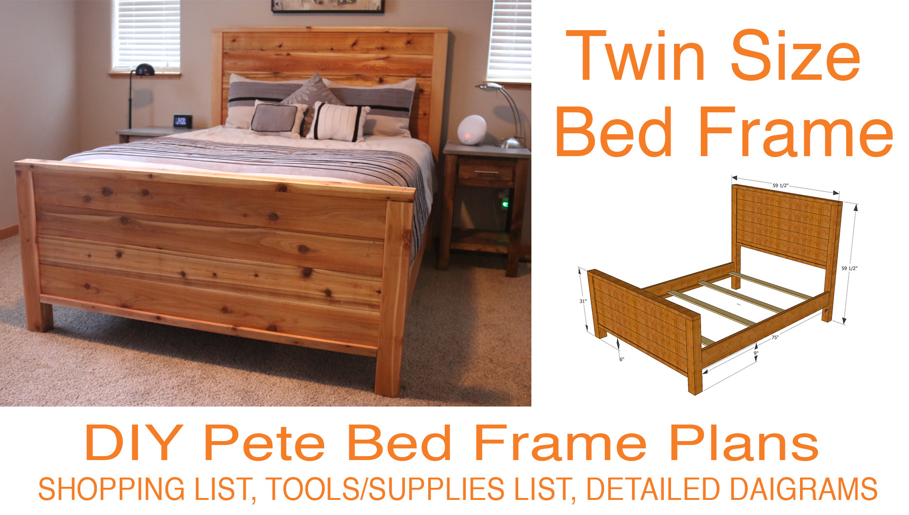DIY Twin Bed Frame Plans  DIY Bed Frame Plans How to Make a bed frame with DIY Pete