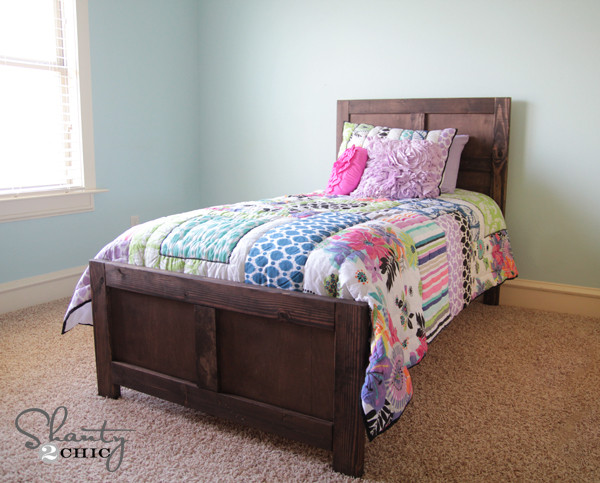 DIY Twin Bed Frame Plans  DIY Bed Pottery Barn Inspired Shanty 2 Chic