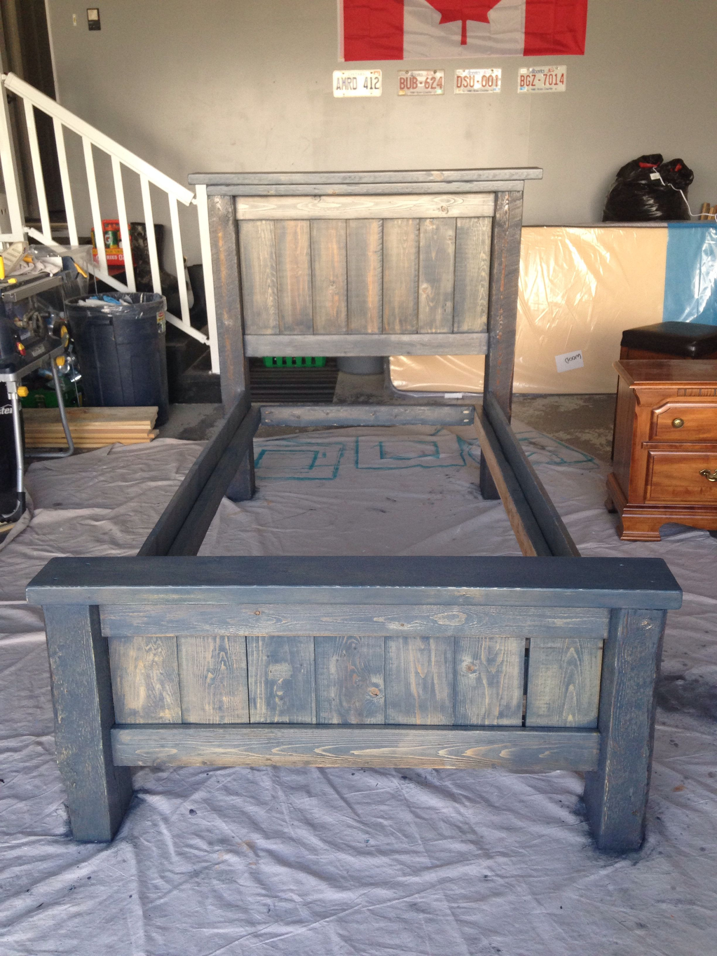 DIY Twin Bed Frame Plans  DIY twin bed frame Plans from Anna White Stained in