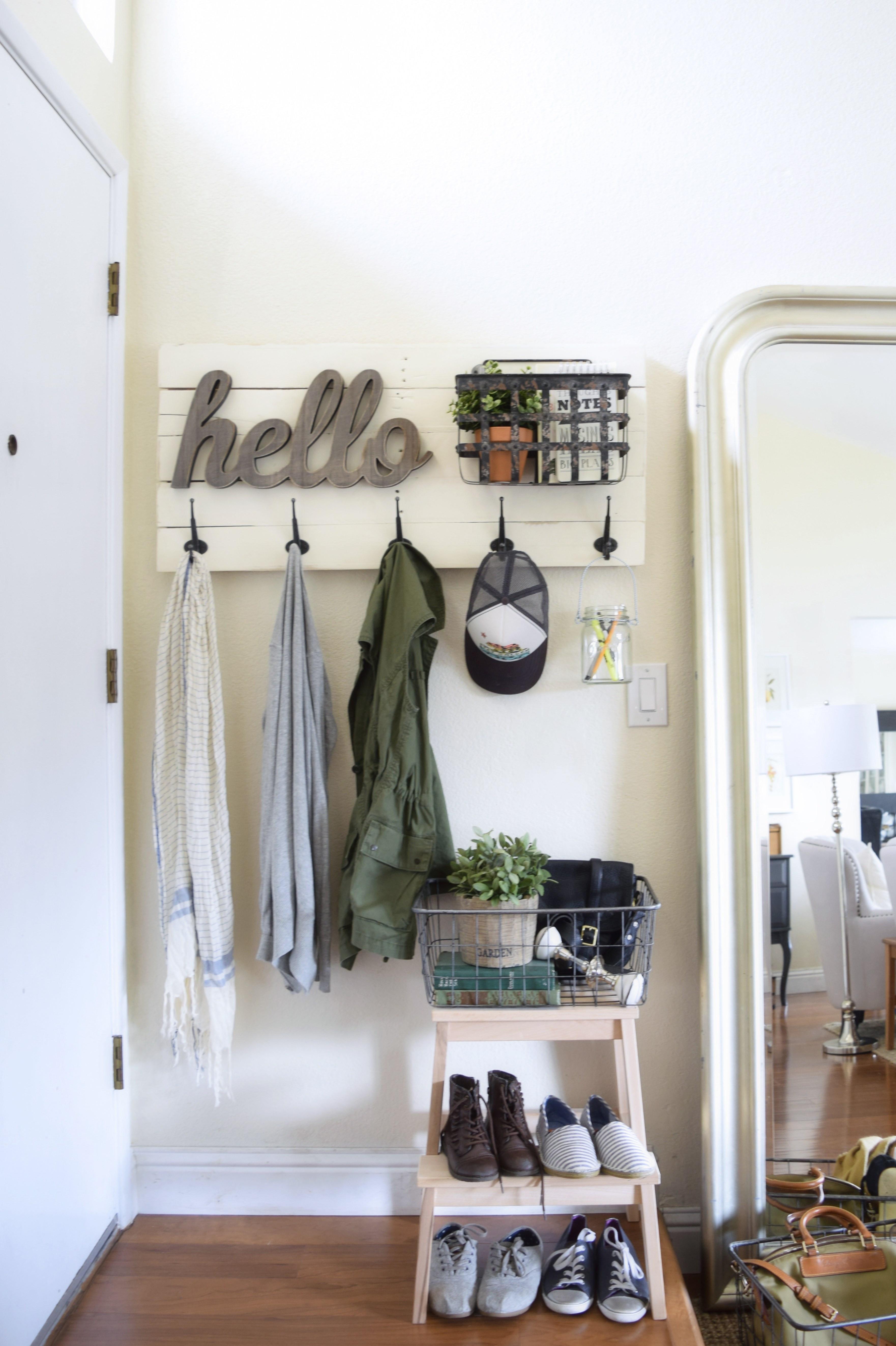 DIY Wall Mounted Coat Rack With Shelf  DIY fun personalized wall mounted coat hanger – almafied