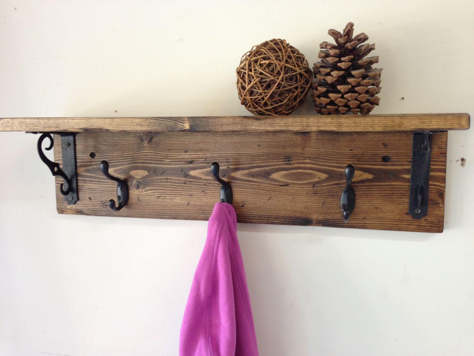 DIY Wall Mounted Coat Rack With Shelf  Handmade wall mount rustic wood coat rack with shelf A