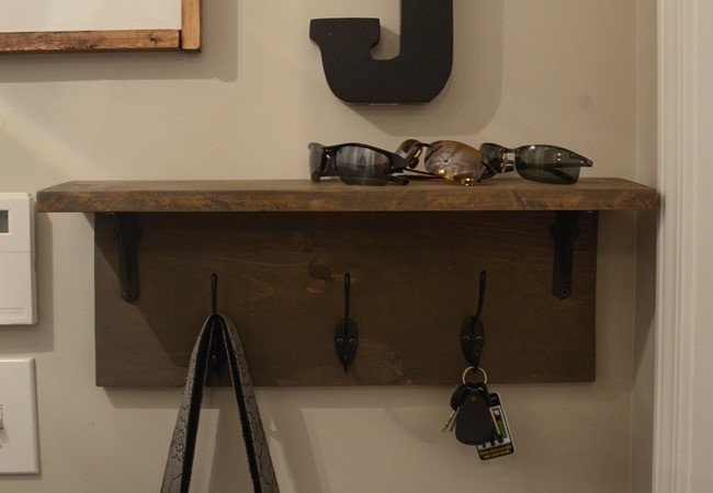 DIY Wall Mounted Coat Rack With Shelf  Mudroom gallery wall DIY coat rack shelf