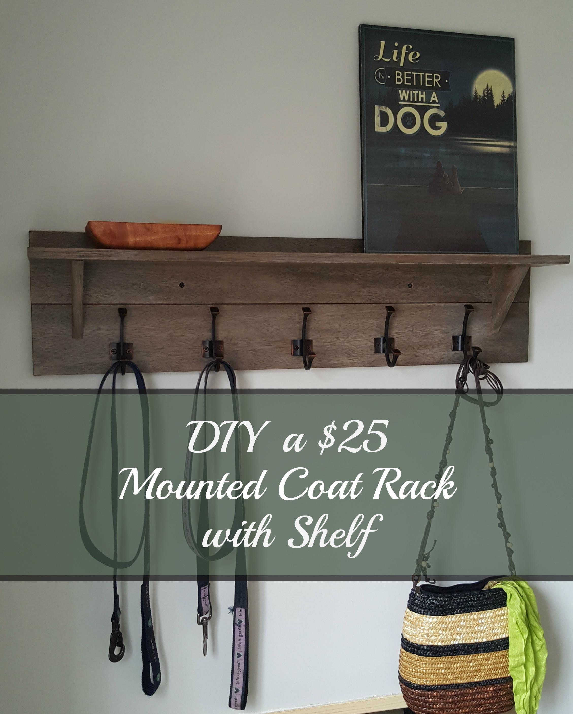DIY Wall Mounted Coat Rack With Shelf  Turtles and Tails Wall mounted Coatrack with Shelf DIY