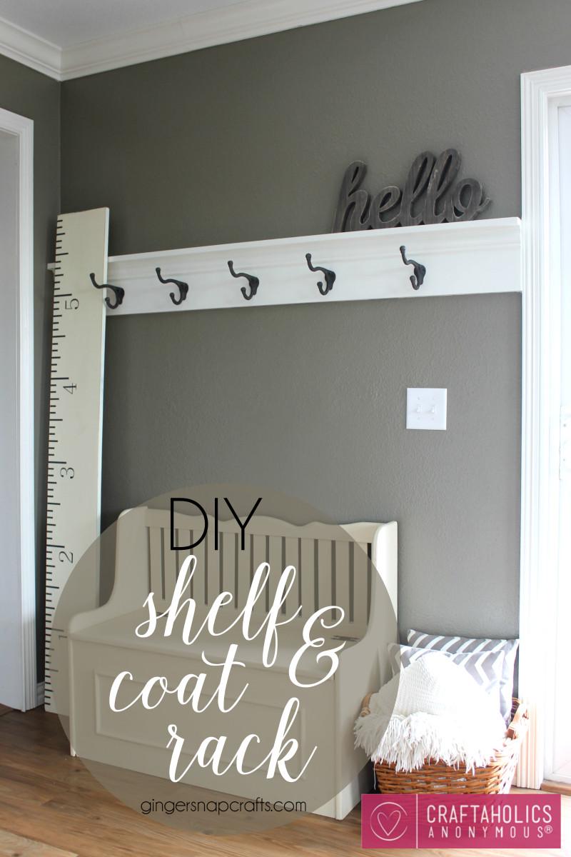 DIY Wall Mounted Coat Rack With Shelf  Craftaholics Anonymous