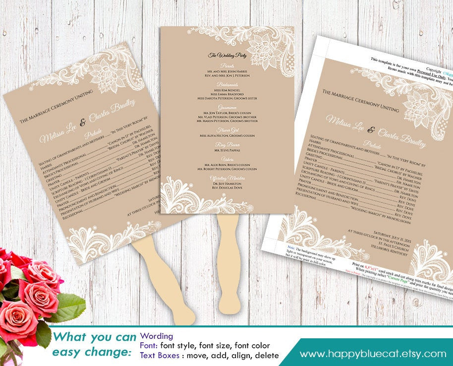 DIY Wedding Fan  DiY Printable Wedding Fan Program Template Instant Download