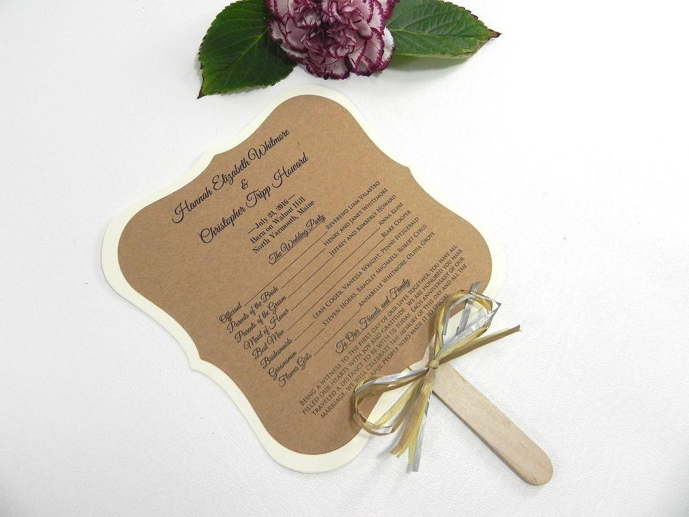 DIY Wedding Fan  DIY KIT Custom Rustic Wedding Program Fans Personalized