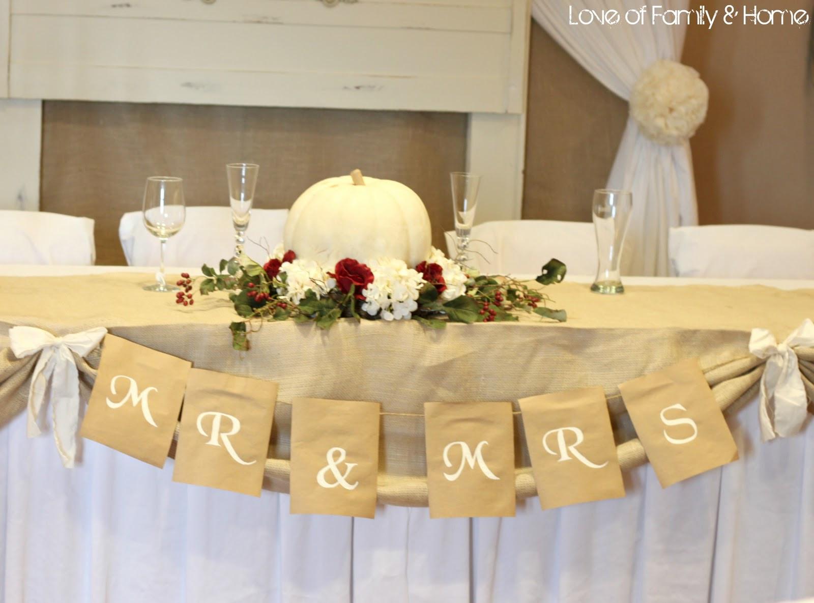 DIY Wedding Reception Decorations  DIY Rustic Chic Fall Wedding Reveal Love of Family