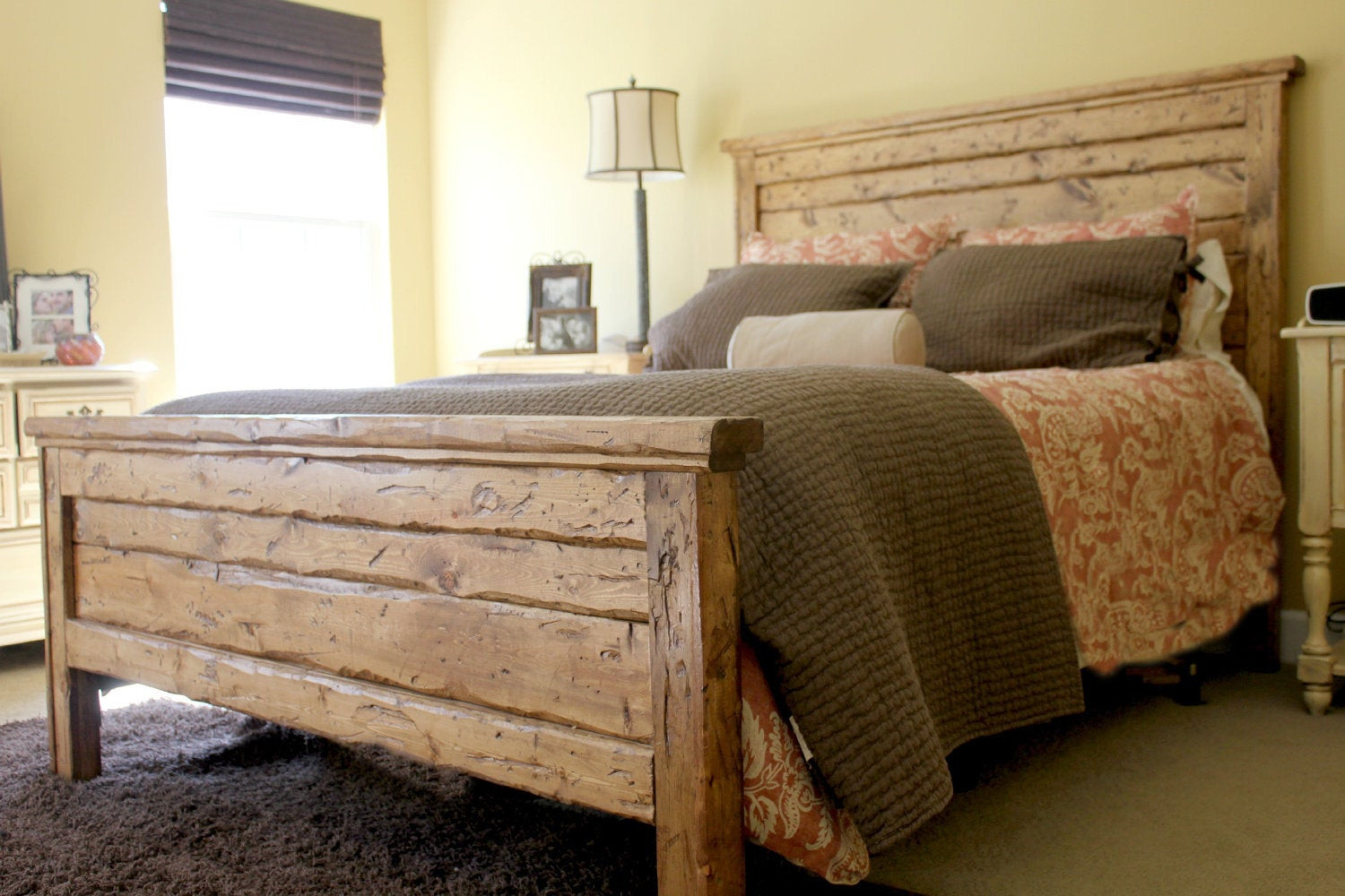 DIY Wood King Headboard  King Reclaimed Wood Headboard and Footbaord