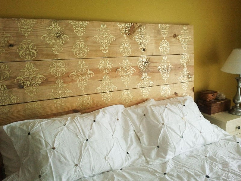 DIY Wood Plank Headboard  Gold Stenciled Plank Headboard · How To Make A Bed