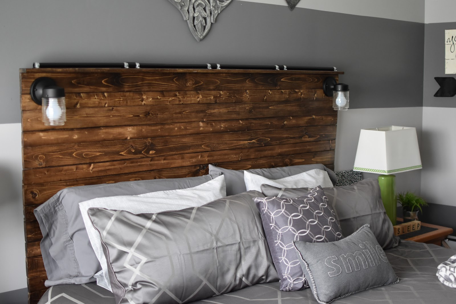 DIY Wood Plank Headboard  Paper Paint and Pine DIY Wooden Plank Headboard
