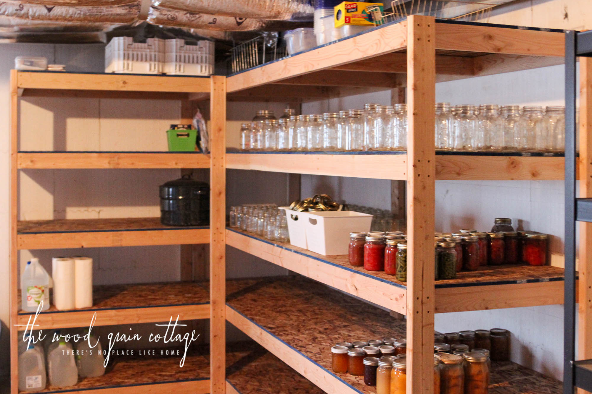 DIY Wood Storage Shelves  DIY Basement Shelving The Wood Grain Cottage
