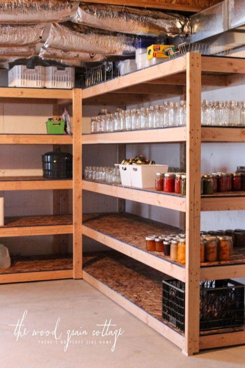 DIY Wood Storage Shelves  DIY Basement Shelving Shed Organization