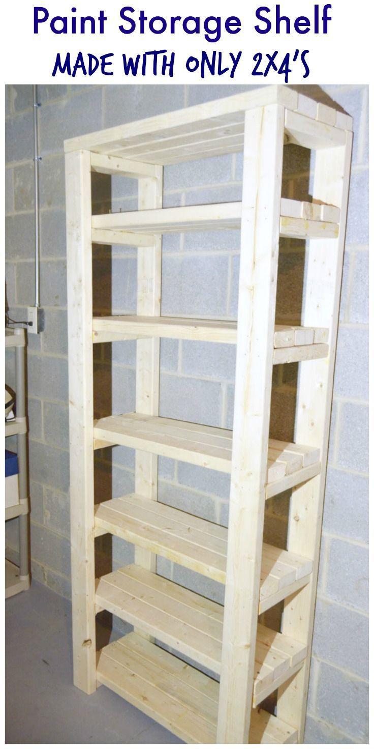 DIY Wood Storage Shelves  Paint Storage Shelf Made With 2x4s