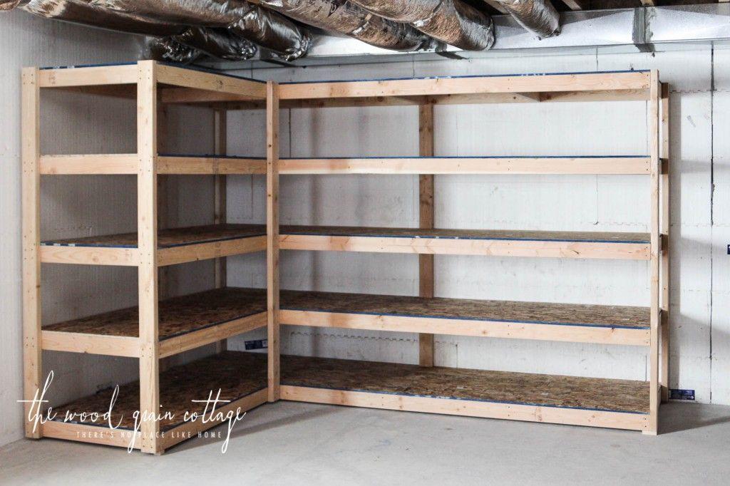 DIY Wood Storage Shelves  DIY Basement Shelving House decor