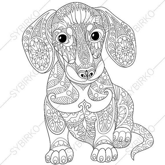 Dog Coloring Books For Adults  Adult Coloring Page Dachshund Puppy Zentangle Doodle