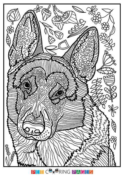 Dog Coloring Books For Adults  Free printable German Shepherd Dog coloring page available