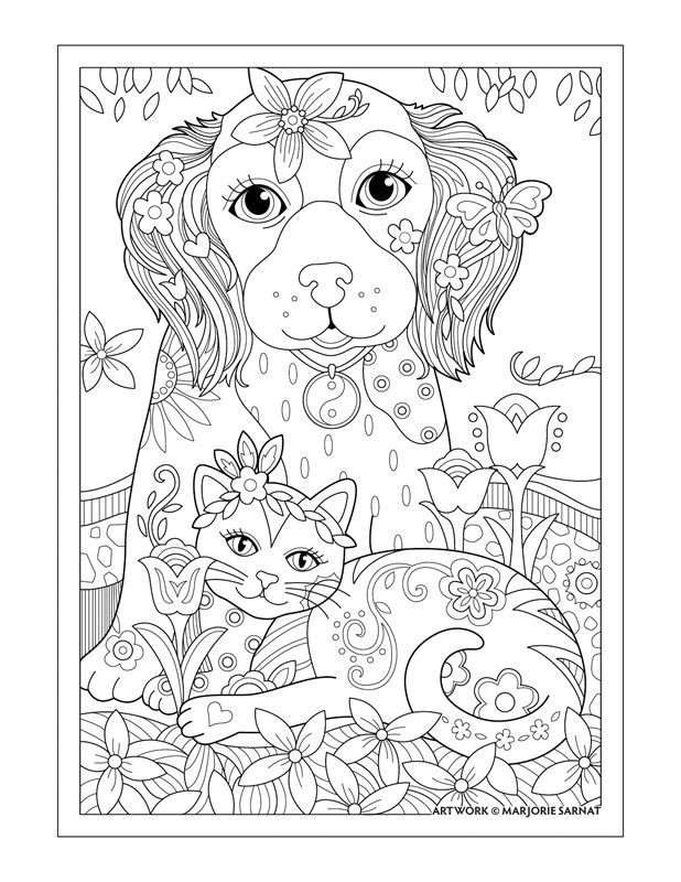 """Dog Coloring Books For Adults  Marjorie Sarnat s Pampered Pets """"Dog Cat and Butterfly"""