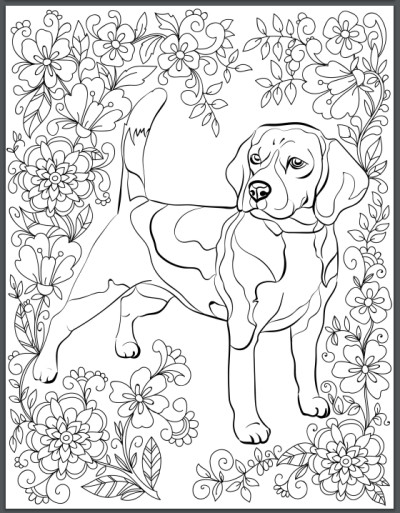 Dog Coloring Books For Adults  De stress With Dogs Downloadable 10 Page Coloring Book