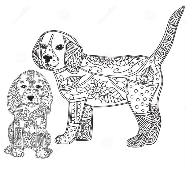 Dog Coloring Books For Adults  9 Puppy Coloring Pages JPG AI Illustrator Download