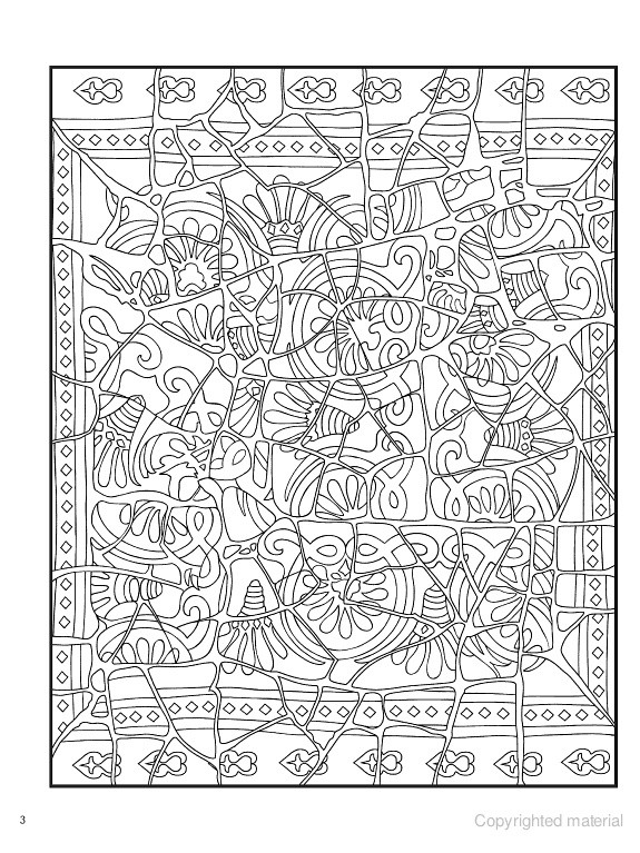 Dover Coloring Books For Adults  Creative Haven Mosaic Masterpieces Coloring Book