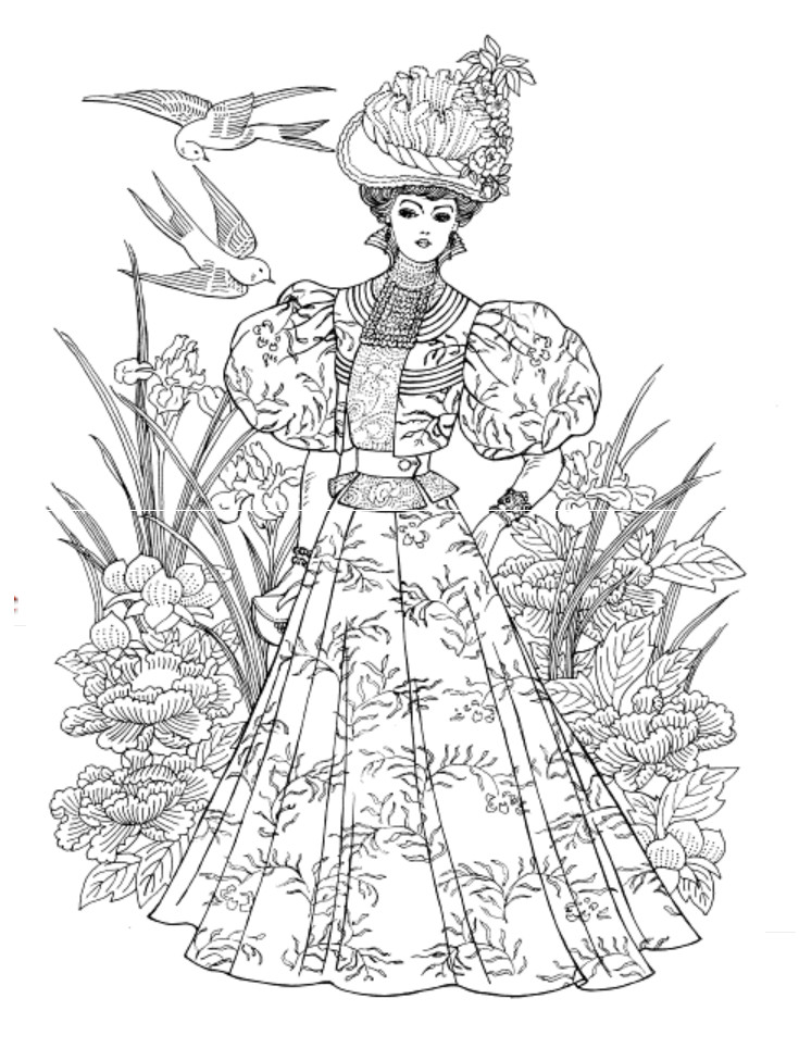 Dover Coloring Books For Adults  Art Nouveau Fashions Coloring Book Dover Publications
