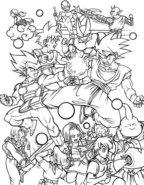 Dragon Ball Z Coloring Pages Printable  All characters in Dragon Ball Z free printable coloring