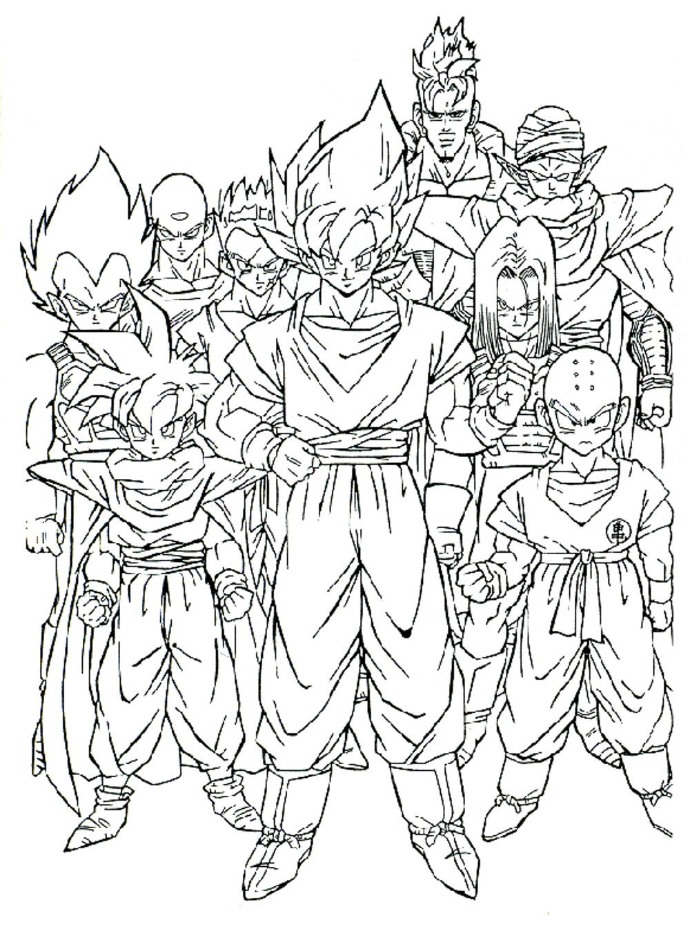 Dragon Ball Z Coloring Pages Printable  dragon ball z coloring pages printable