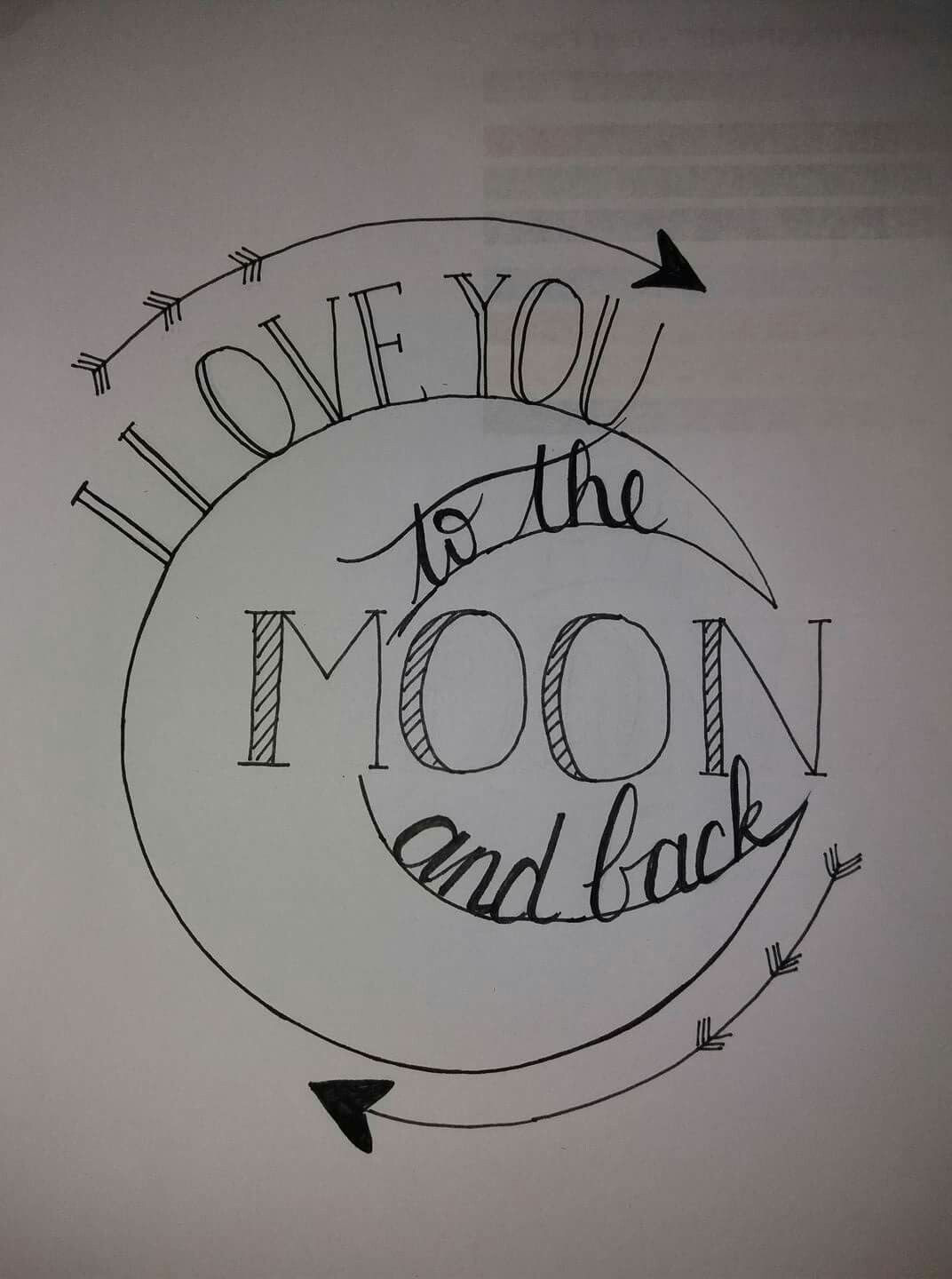 Drawing Love Quotes  I love you to the moon and back
