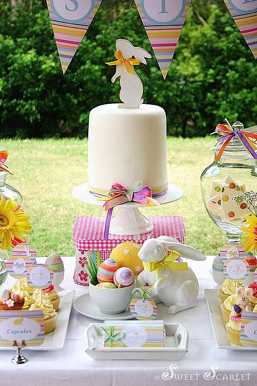 Easter Party Centerpiece Ideas  Kara s Party Ideas Easter Dessert Table Decorations