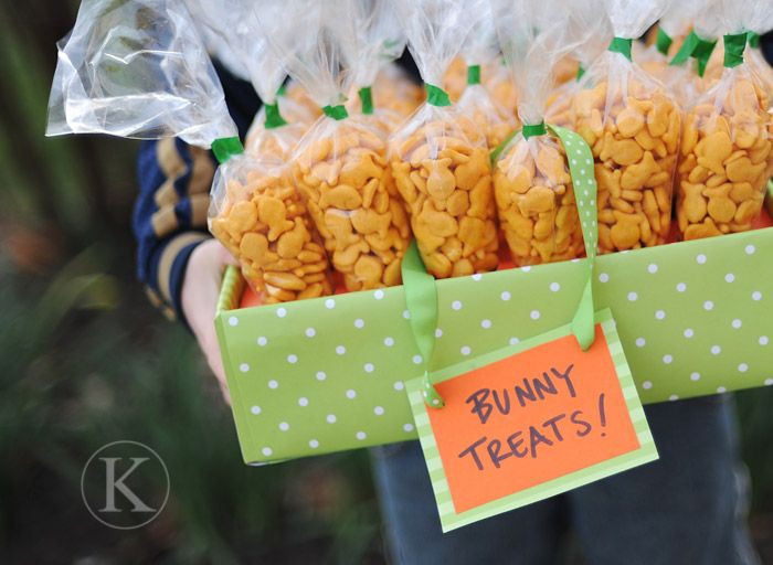Easter Party Snack Ideas For Kids  Cute snack for kids goldfish crackers packaged to look