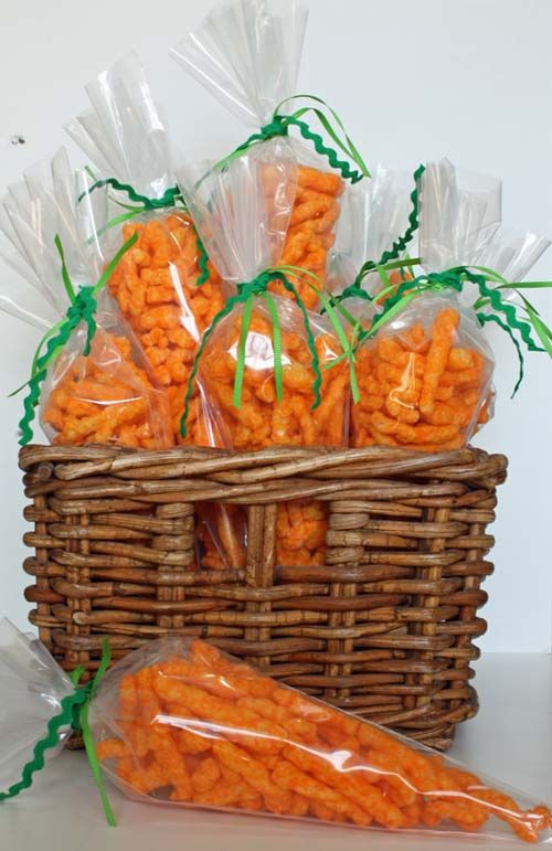 """Easter Party Snack Ideas For Kids  """"Easter Treats """" Cheetos in a frosting bag What a"""