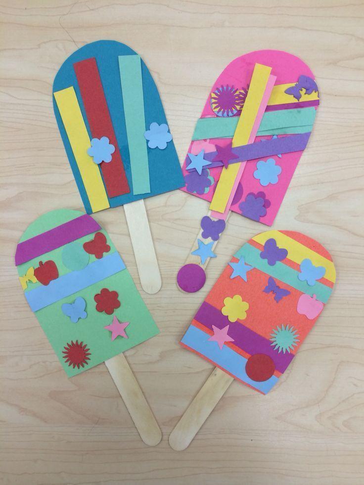 Easy Art Activities Preschoolers  Popsicle Summer Art Craft for Preschoolers Kindergarten