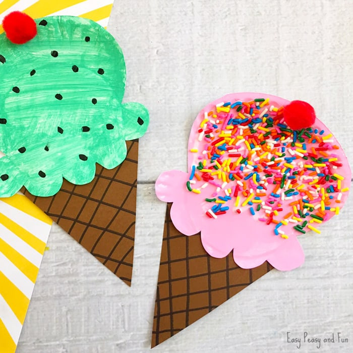 Easy Summer Crafts For Preschoolers  Paper Plate Ice Cream Craft Summer Craft Idea for Kids
