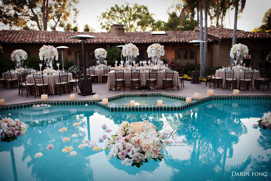 Elegant Pool Party Ideas  Rancho Valencia Resort Vintage style wedding Alex and