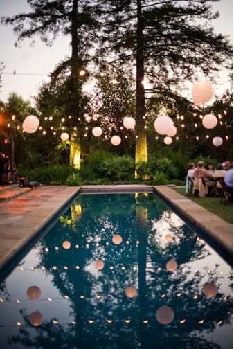 Elegant Pool Party Ideas  Lights and balloons over the pool