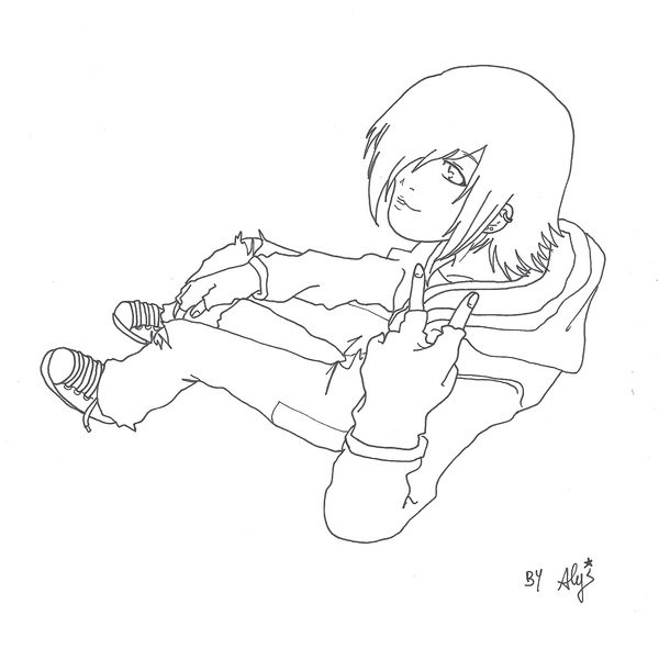 Emo Boys Coloring Pages  Lineart Emo Boy by AlyTheKitten on DeviantArt