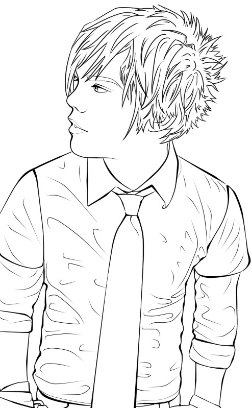 Emo Boys Coloring Pages  Emo Boy Lineart by Naruto 1949 on DeviantArt