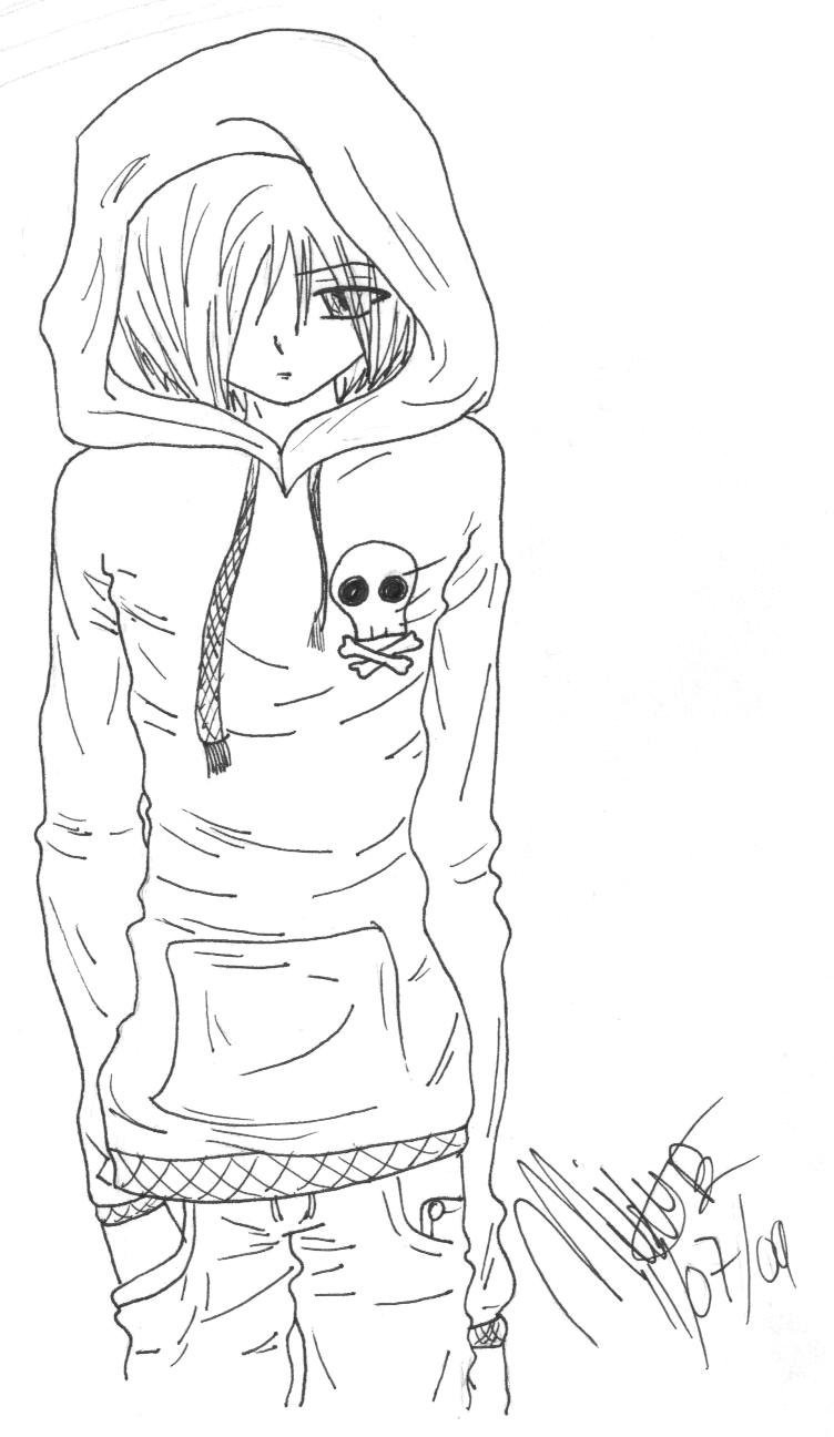 Emo Boys Coloring Pages  Emo Anime Guy by AkemiKae on DeviantArt