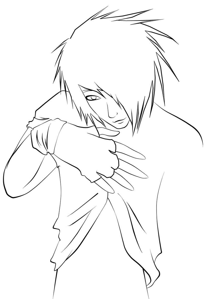 Emo Boys Coloring Pages  Emo Guy Lineart by CookiiMii on DeviantArt