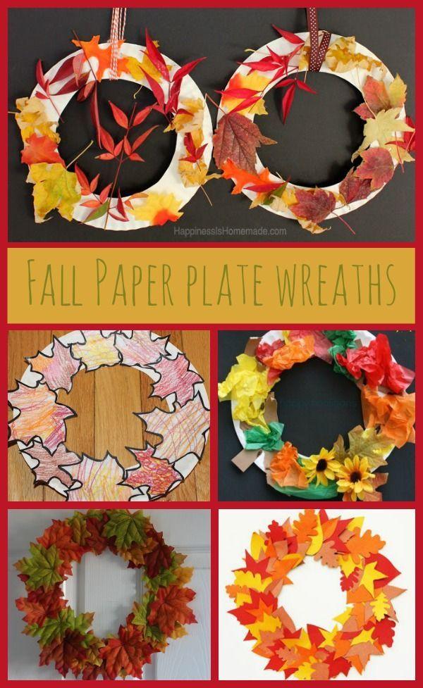 Fall Craft Ideas For Preschool  Paper plate Autumn Fall leaf wreaths