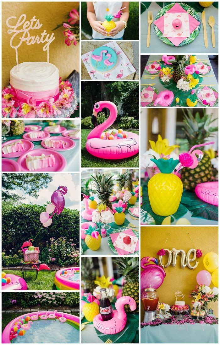 First Birthday Pool Party Ideas  First Birthday Party with Flamingo and Pineapple Theme
