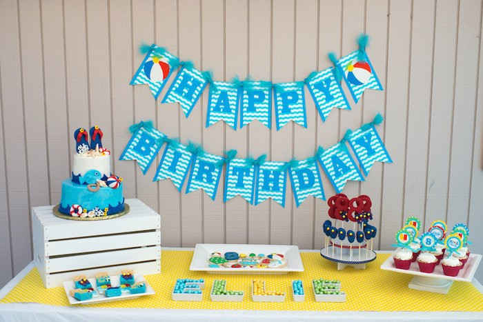 First Birthday Pool Party Ideas  Kara s Party Ideas Colorful Pool Themed Birthday Party
