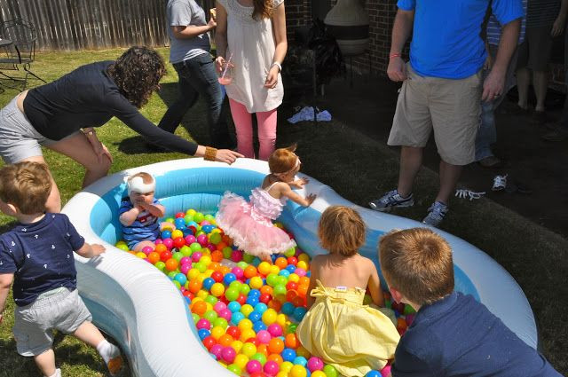 First Birthday Pool Party Ideas  First birthday party activities balls in a kids pool or