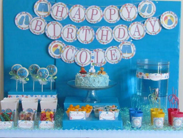 First Birthday Pool Party Ideas  Pool Party Birthday Party Ideas 1 of 23