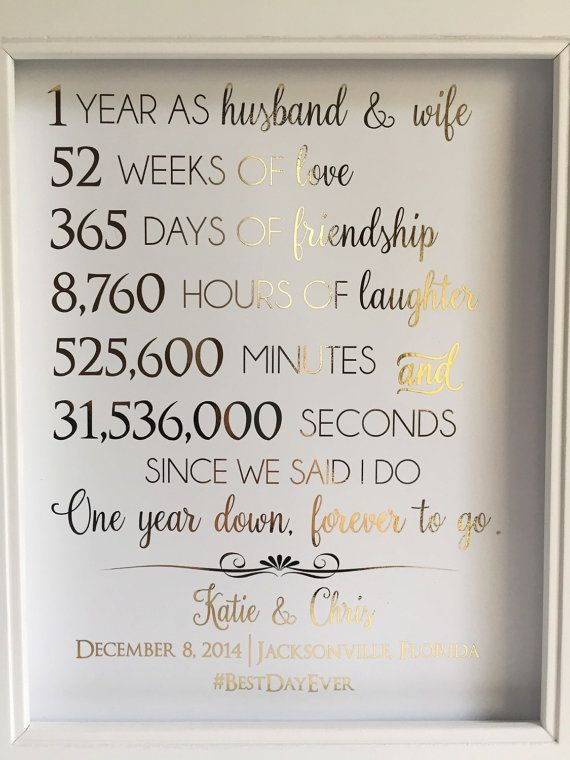 First Year Of Marriage Quotes  First 1st Anniversary Gift Anniversary Gift For